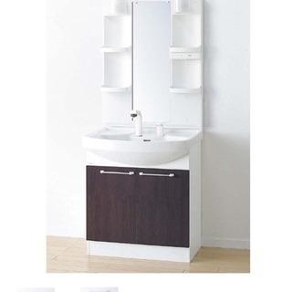 浴室の扉と洗面台の取り付け