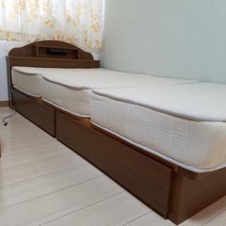 シングルベッド 収納付きフレーム+3分割マットレス