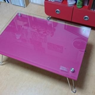 折り畳みガラストップテーブル