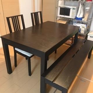 ダイニングテーブルセット伸縮可(4人〜10人用)ベンチ、椅子2脚付き