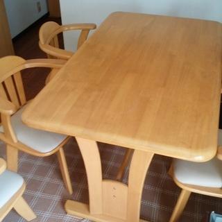 ダイニングテーブルセット 回転椅子