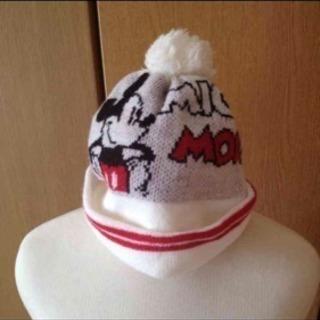 美品ディズニー mickey ポンポン付きニット帽