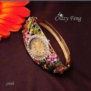 新品未使用姫系女子力upフラワーブレスレット腕時計