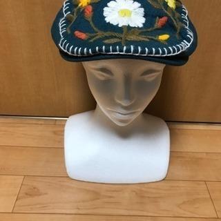 【千円帽子❗️①グレース❗️】グレース花柄刺繍、グリーンハンチン...