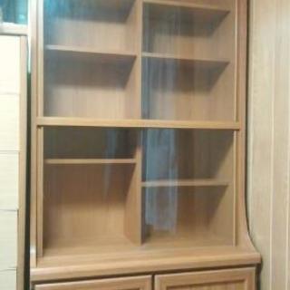 木製本棚 収納付き W880×D300-D420×H1830