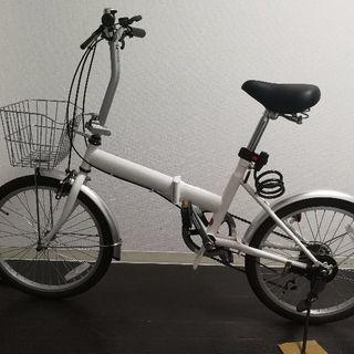 20インチ折りたたみ自転車(ホワイト) 自転車 シマノ6段変速 ...