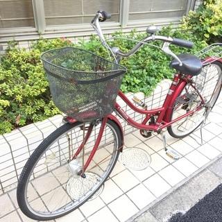 【ジャンク】オートライト・6段変速付き自転車・赤色