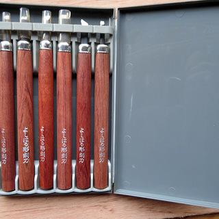 義春刃物 高級付鋼製 彫刻刀 ケース入 6本組 極美品