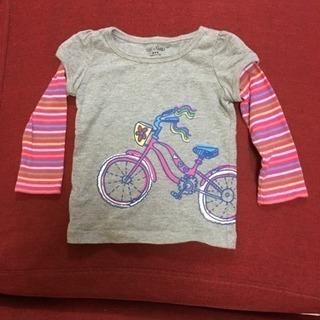 babyGap 長袖 グレー 80サイズ ピンク 自転車 ベビーギ...