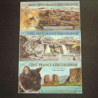 ★3匹の猫★ケルゲレン諸島紙幣★ポリマー3枚★新古品の美品並★コレ...