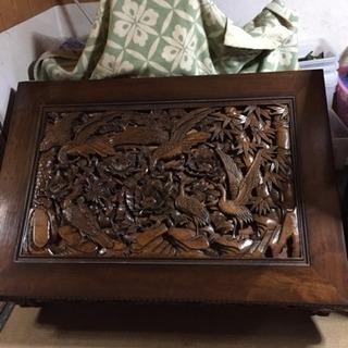彫刻 細工 ローテーブル 座卓 アンティーク