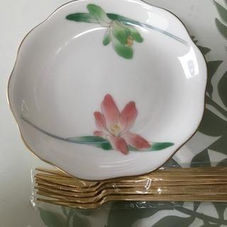 三洋陶器 龍峰窯 花だより 銘々皿5枚 フォーク5本