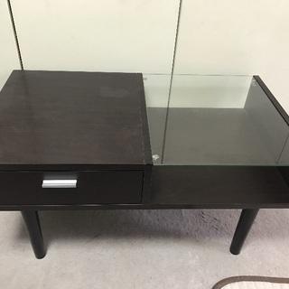 ローテーブル ガラス 木目調 サイドテーブル