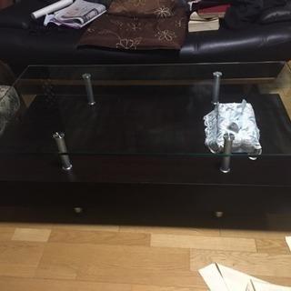 【11月9日以降】ガラス天面 収納付きテーブル