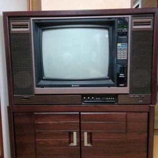 ブラウン管テレビ レトロ 取りに来てくれる方限定 無料 テレビ台つき