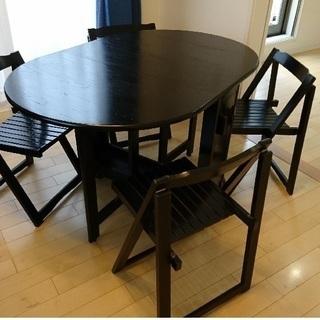 折り畳み式ダイニングテーブル 椅子4脚付き 内部収納可譲ります