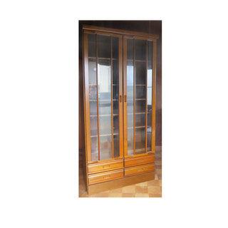 本棚 扉付 木製 引出し収納付き  幅89 奥行45 高さ185
