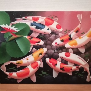 バリ島の油絵 鯉の絵 魚の絵