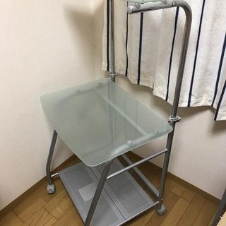パソコンラック★パソコンデスク★強化ガラス仕様★高さ可動式