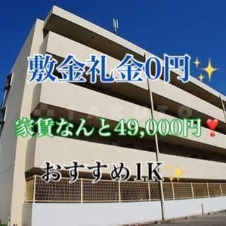 敷金礼金0円❣️ 家賃4万9千✨ 1K物件🙆