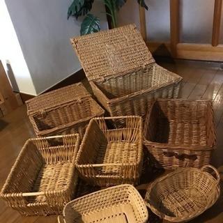 【商談中】収納バスケット カゴ編みケース 7点セット