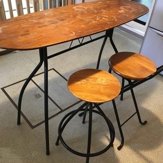 カウンターテーブル&チェア2脚セット(天板に輪ジミ?あり)