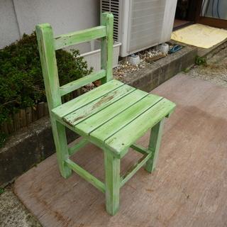 ★☆ 木製 スツール シャビーシック チェアーイス 緑の椅子 ① ☆★