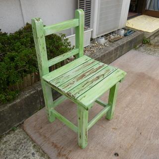 ★☆ 木製 スツール シャビーシック チェアーイス 緑の椅子 ② ☆★