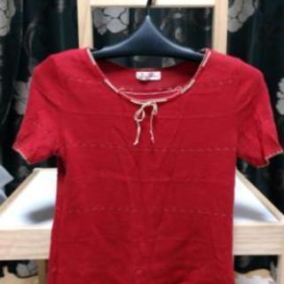 アンゴラ入り 赤半袖ニット 日本製