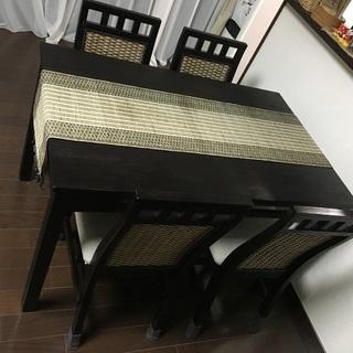 木製ダイニングテーブル 黒 椅子4脚付 W120 x D76 x ...