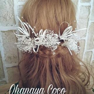 funwariリボンとプリザかすみ草の髪飾り6点Set