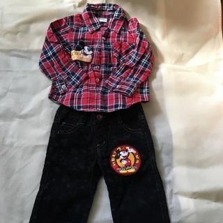 サイズ90 ディズニー ミッキー ネルシャツ ズボン セット