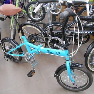 折り畳み自転車 16インチ 変速付き ターコイズ 新品