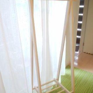 木製 ホワイトのハンガーラック