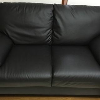 ニトリ  2人用ソファ(Nシールド キャッツ2 BK) 黒