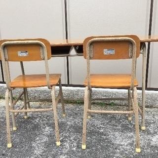昔懐かしい2人用学校机椅子