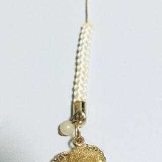 【天然石付き】金色の薔薇ストラップ