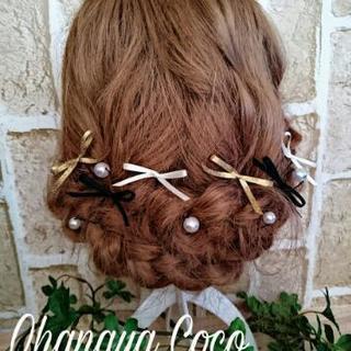 お呼ばれアレンジ  3色リボンとパールの髪飾り11点Set