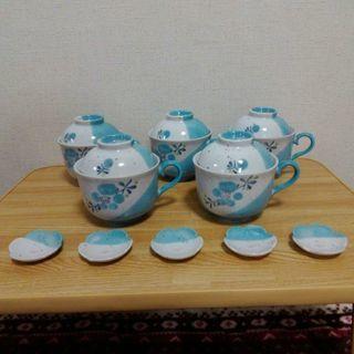 新品 陶器 コーヒーカップ型のうつわ 蓋付き & 花形箸置き 5個...