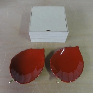 2c63 桜井漆器 お箸置き 小皿 2枚セット 新品 引取限定