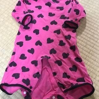 ピンク ハート 長袖ロンパース 70cm