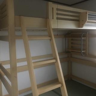 ハイタイプ/木製シングルロフトベッド/サイドラック付/使用感有