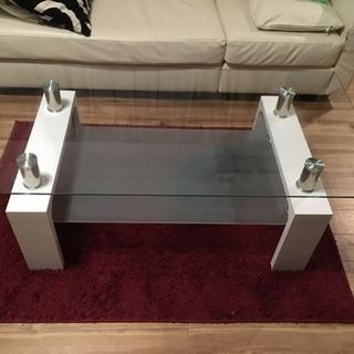 ガラステーブル/ローテーブル/ホワイト