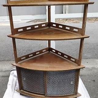 ☆アンティーク 木製3段コーナーラック 和の工芸品◆レトロ好きへ