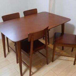 【美品】木製ダイニングテーブル 5点セット