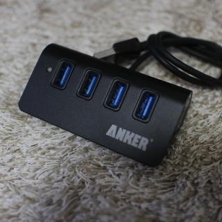 Anker USB 3.0 高速4ポートハブ 一体型ケーブル アルミ製