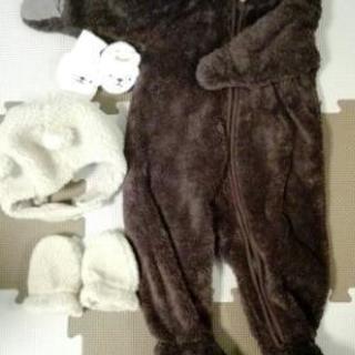 値下げ☆もこもこクマさんセット☆ロンパース、帽子、ミトン、ルーム...