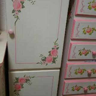 姫家具 薔薇柄 アンティーク家具 2段物入れ