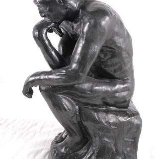 迫力 公民館級 考える人 ロダン ブロンズ像 銅製銅像 作家在銘有...