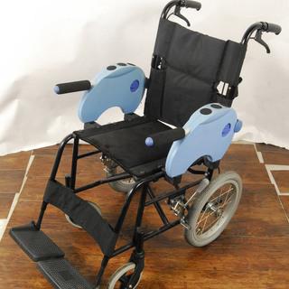 アルミ 介助用 子供少年向け 施設にも 車椅子ブルー 3885